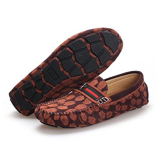 Respirable Planos Hombres Cuero de mocasín de los conducción Café cómodos de Zapatos Cx7Eq6Yw4n