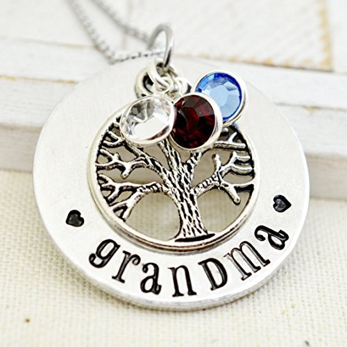 Personalized Family Tree Grandma Necklace, Custom Grandmother's Birthstone Jewelry, Gift for Nana - Grandmother Birthstone Jewelry