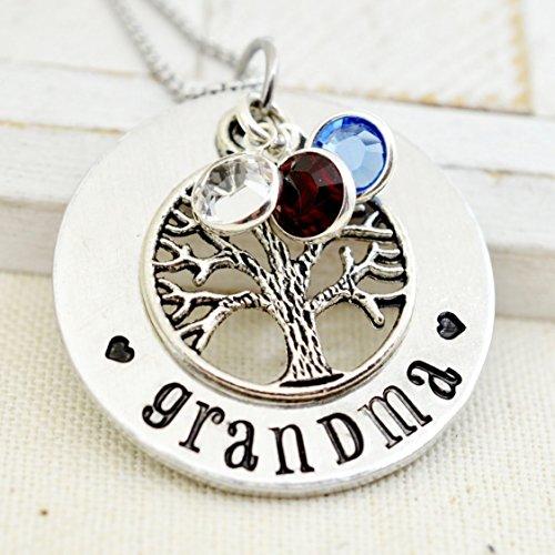 Personalized Family Tree Grandma Necklace, Custom Grandmother's Birthstone Jewelry, Gift for Nana