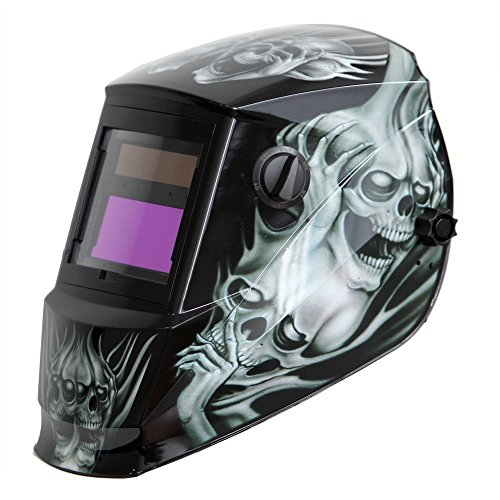 Antra AH6-260-6218 Solar Power Auto Darkening Welding Helmet with AntFi X60-2 Wide Shade Range 4/5-9/9-13 with Grinding Feature Extra Lens Covers Good for Arc Tig Mig Plasma CSA/ANSI