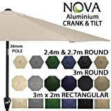 Nova Outdoor Living Garden Parasol - Aluminium Metal Outdoor Patio Umbrella Sun Shade with Crank & Tilt Function 2.4m 2.7m 3m 3x2m in 6 Colours with 38mm Pole, Beige, x 2m Rectangular
