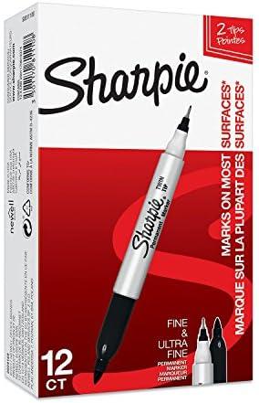 Sharpie (S0811100) Rotulador permanente de dos puntas, caja de 12 ...