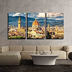 "wall26 - 3 Piece Canvas Wall Art - View on Florence and Duomo Cathedral, Italy - Modern Home Decor Stretched and Framed Ready to Hang - 16""x24""x3 Panels"