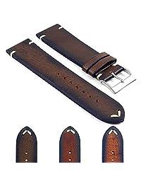 DASSARI Kingwood Italian Leather Hand Finished Vintage Watch Strap w/ Minimal Stitching in Brown 19mm