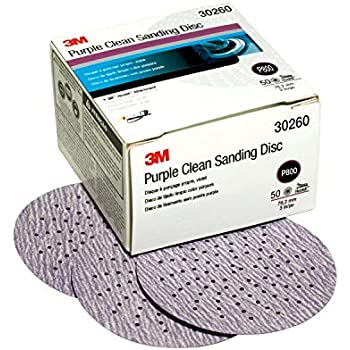 3M Hookit Purple Clean Sanding Disc 343U, 30260, 3 in, P800, 50 discs per carton