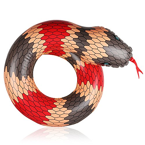 D-FantiX Inflatable Swim Ring, Snake Open-Hoop Design Water Donut Pool Float Swim Inner Tube for Adults Kids Summer Beach Toy Party Favors Decorations Red