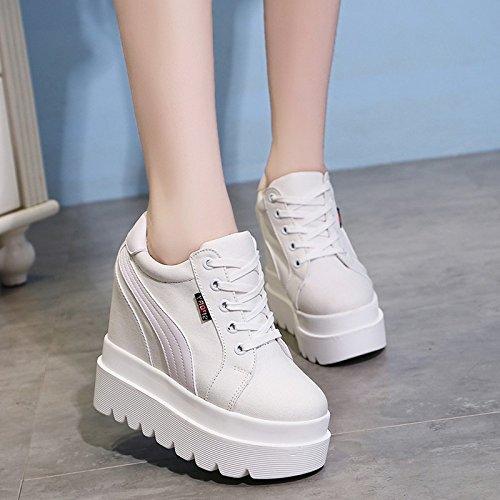 GTVERNH Bizcocho con Gruesos Zapatos De Mujer Mujer Mujer Zapatos Bajos Están Aumentando con La Ultra High Fashion Zapatos Calzado Casual Blanco 39 ca6ff8