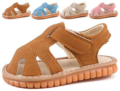 (CINDEAR Squeaky Pu Leather Closed-Toe Sandals for Infant Boy Girl Rubber Sole Anti-Slip Slippers Shoes Camel 1302-CL15(Inner Length 11.5cm/4.5in))