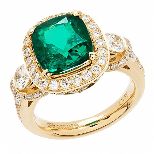 Amoro-18k-Yellow-Gold-Colombian-Emerald-Ring-and-Diamond-Ring-204-cttwG-H-ColorVSI-VS2-Clarity