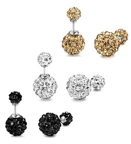 ORAZIO 3 Pairs Stainless Steel Cubic Zirconia Stud Earrings for Women Ear Pierced Double Beads (Double Ball Earring)