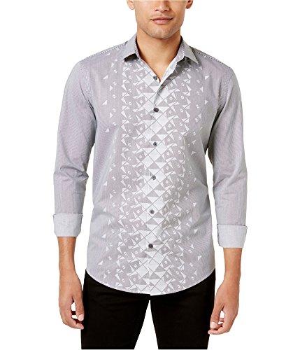 Alfani Men's Black & White Striped Printed Button-Down Shirt M BHFO 3180