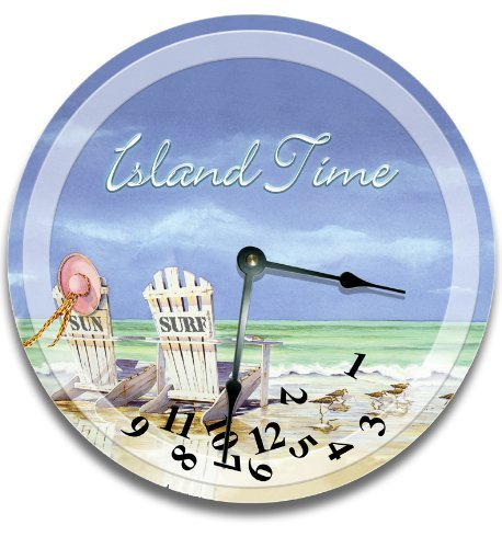 Fancy This BEACH CLOCK - Island Time wall art clock novelty large 10 1/2