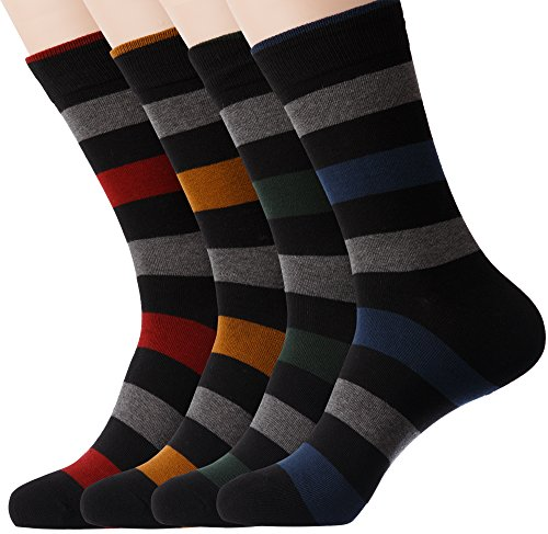 KONY 4 Pack Men's Thin Combed Cotton Dress Crew Socks - Classic Colorful Stripe Patterned Business Socks (Stripe 3-4 Pairs) - Striped Dress Socks