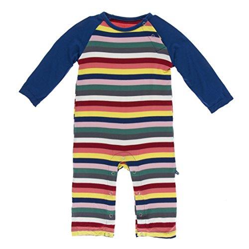 Stripe Polo Coverall - Kickee Pants Little Boys Print Long Sleeve Raglan Romper - Bright London Stripe, 6-12 Months
