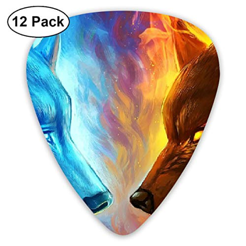 V5DGFJH.B Ice and Fire Wolves Classic Guitar Pick Player's Pack for Electric Guitar,Acoustic Guitar,Mandolin,Guitar Bass -