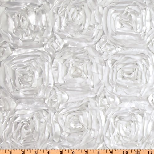 Splenda Satin Ribbon Rosette White Fabric By The Yard