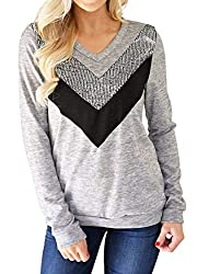 Y-Grey Casual Long Sleeve Pullover Shirt With Sequins