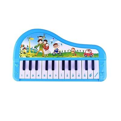6630009012502 Monbedos 24-key Piano Jouets pour enfants Dessin animé multifonction clavier électronique pour enfants Early Jeu éducatif d'apprentissage (Bleu) Taille 24,5* 3.4* 14