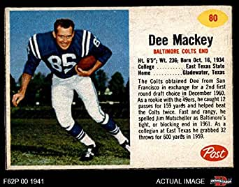 Amazon com: 1962 Post Cereal # 80 Dee Mackey Baltimore Colts