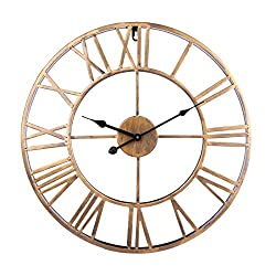Fcoson Vintage Metal Clock Hollowed-out Roman Numeral Silent Clock 20-inch Large Round Decorative Clock for Living Room Bedroom Kitchen Golden