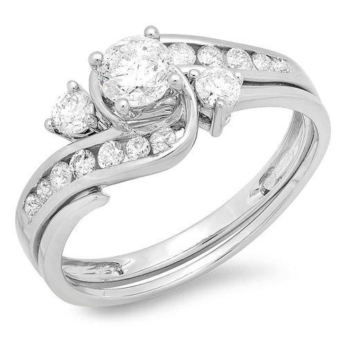 Dazzlingrock Collection 1.33 Carat (ctw) 14K Round Diamond Ladies Bridal Swirl Engagement Ring Set, White Gold, Size 9.5