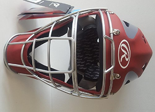 Rawlings CHVELY Velo Youth Red / Gray Catchers Helmet Fits 6 1/2''-7'' by Rawlings