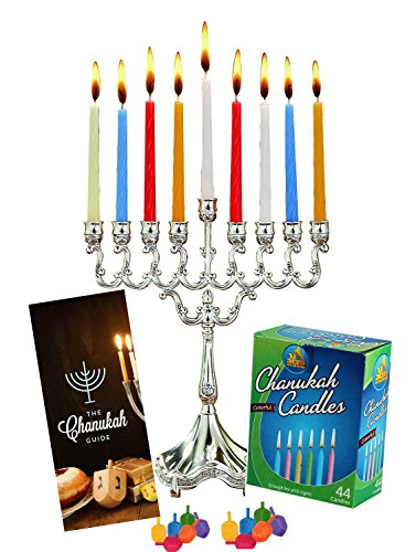 Hanukkah Menorah Complete Set - Menorah - Candles - Dreidels - Chanukah Guide