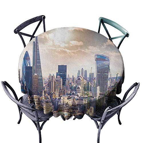 (duommhome City Restaurant Tablecloth Modern District London Aerial Image Famous Architecture Dramatic Sky in England Indoor Outdoor Camping Picnic D67 Ivory Blue White)