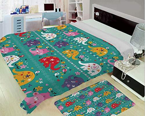 Kidsline Nursery Bedding - iPrint Creative Flannel Blanket for Home Warming,Elephant Nursery Decor,Joyful Kids Pattern Festive Colorful Animals Flowers Funny Nature Decorative,Multicolor,One Side Printing,Excess Value
