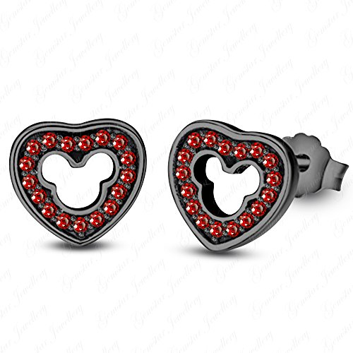 Mouse Heart Earrings Mickey - Gemstar Jewellery 18k Black Gold Finish Brilliant Round Cut Red Garnet Disney Mickey Mouse Heart Earrings
