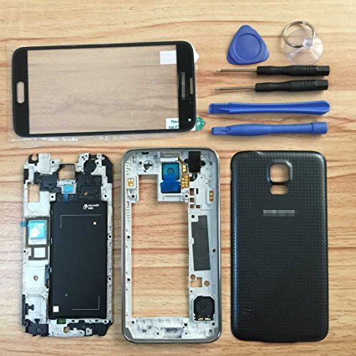 Full Housing Cover Case - Full Housing Case Cover + Screen Glass Lens + Frame + Battery Door Cover + Buttons + Tools for Samsung Galaxy S5 i9600 G900 Black