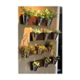 Home Oniship Art Deco Indoor Wall Planter -Wood Grain Horizontal Mount