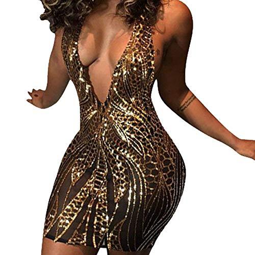 (JiherBeauty Womens Sexy Sequins Backless Deep V-Neck Halter Bodycon Club Mini Dress)