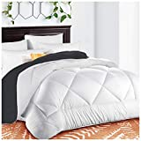 Reversible King Comforter Soft Quilted Down Alternative Duvet Insert with Corner Tabs Summer Cooling Series, Luxury Fluffy Hotel Collection, Hypoallergenic for All Season, White/Gray, 90 x 102 inches