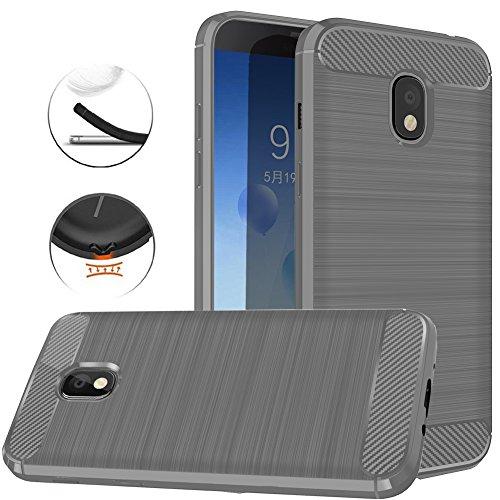 Samsung Galaxy J3 2018, J3V J3 V 3rd Gen,Express Prime 3, J3 Star, J3 Achieve, Amp Prime 3 Case, Dretal Carbon Fiber Brushed Texture Soft TPU Protective Cover (Gray)