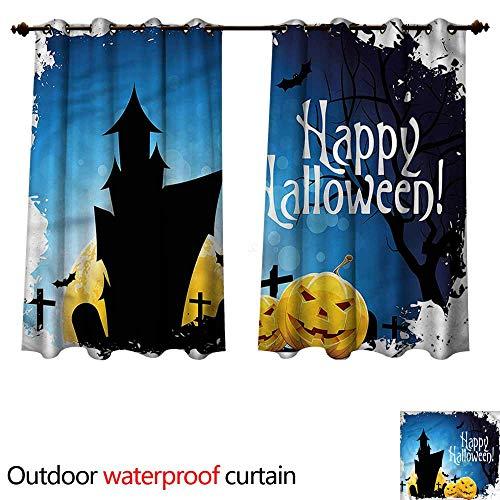 cobeDecor Halloween Outdoor Curtains for Patio Sheer Gothic Ancient Castle W55 x L72(140cm x 183cm)