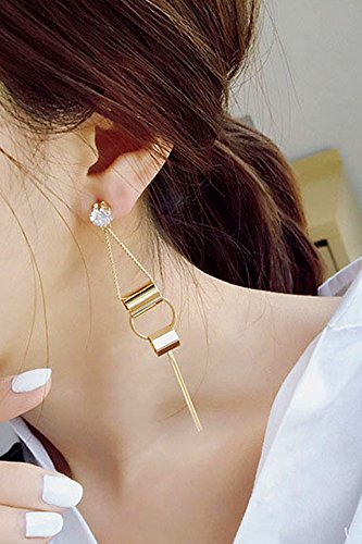 Price comparison product image Generic earrings _of korean_fall_into long_stream_of ear Nail earrings Earring eardrop fashion _new_simple good_ earrings _temperament_wild_water_drilling_ earrings