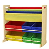 SONGMICS Kids' Toy Storage Unit Sling Bookcase Rack with 6 Fabric Bins and 3-Tier Book Shelf Multicolor UGKR48Y