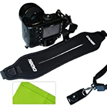 First2savvv OSAS0101 Quick Release Professional Shoulder Sling Strap for Nikon D7000 D90 D5100 D5000 D3100 D3000 D700 D300s D3X D3S D800 D800E D3200 D4 D600 D5200 COOLPIX P7100 COOLPIX P510 COOLPIX L310 COOLPIX L810 COOLPIX P520 COOLPIX L820 Film SLR Camera F6 D7100 COOLPIX L320 with LENS Cleaning Cloth