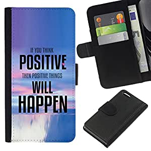 KingStore / Leather Etui en cuir / Apple Iphone 5C / Cosas Pensamiento Positivo suceden Cita