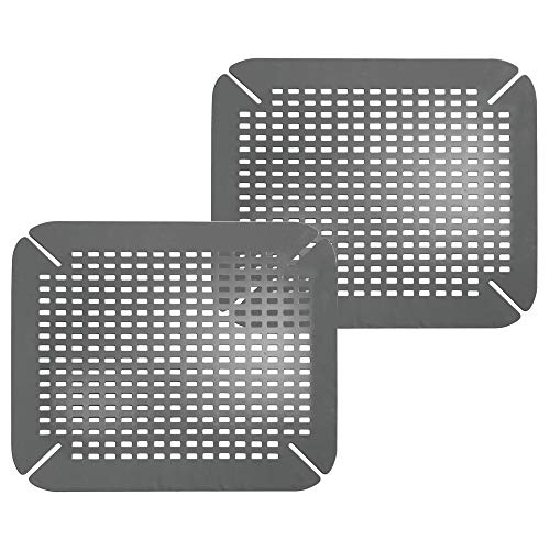 mDesign Adjustable Kitchen Sink Dish Drying Mat/Grid - Quick Draining Design - Soft Plastic Pad Protects and Cushions Sinks, Stemware, Wine Glasses, Dishes - 2 Pack - Charcoal Gray