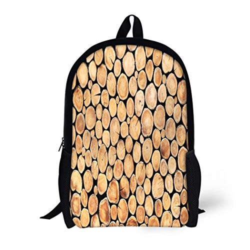(Pinbeam Backpack Travel Daypack Brown Log Round Teak Wood Stump As Wall Waterproof School Bag)