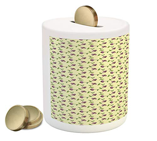Lunarable Echinacea Piggy Bank, Repeating Pattern with Different Order Illustrated Cone Flowers, Printed Ceramic Coin Bank Money Box for Cash Saving, Pale Yellow Green Multicolor