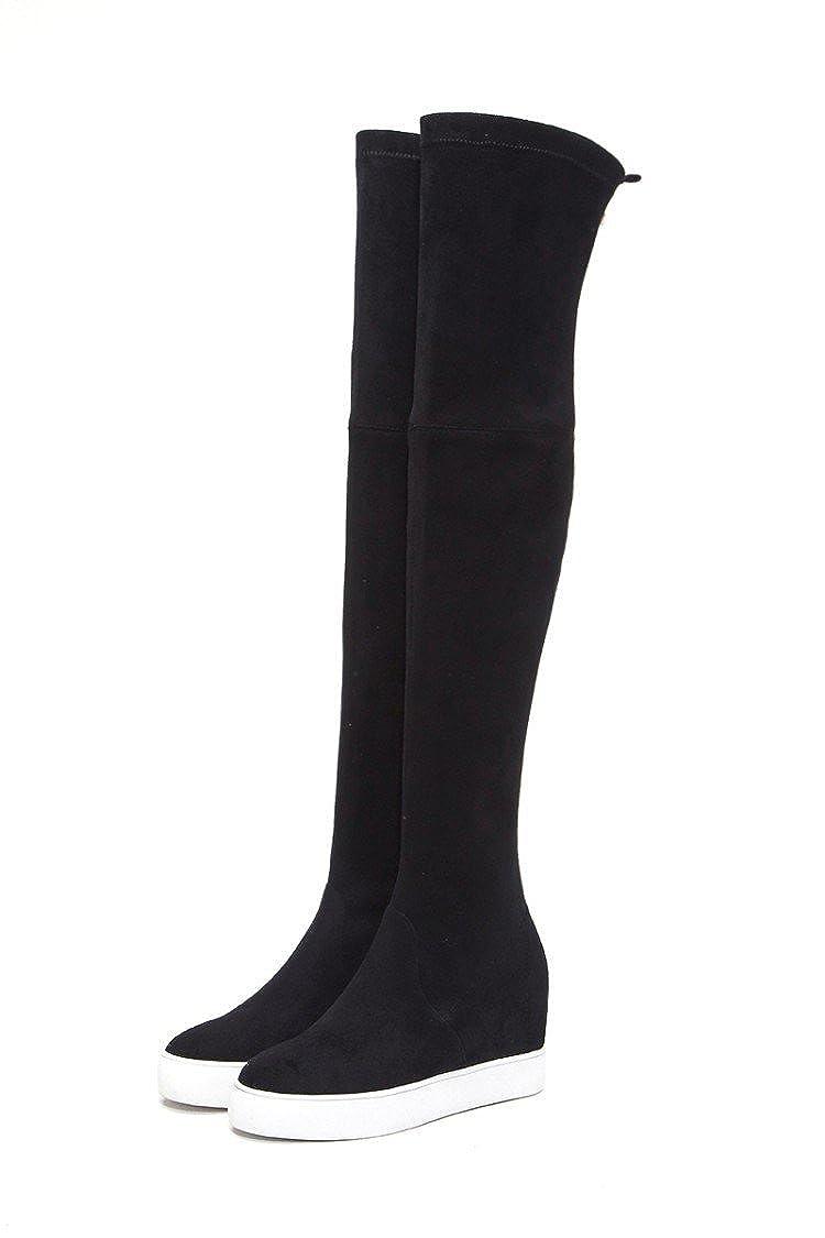 QIN&X Dick Frauen Dick QIN&X unten Ferse Interne erhöhen Elastische lange Stiefel Schuhe 320ad0