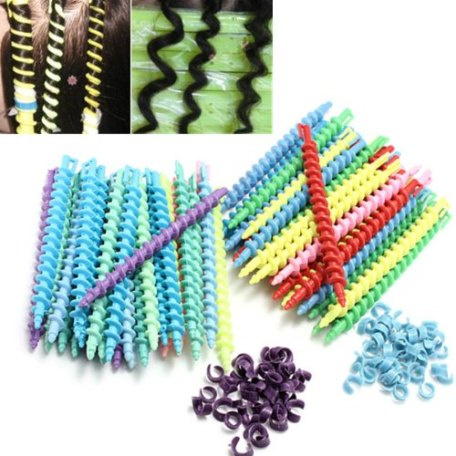 Liannmarketing 25Pcs Styling Plastic Hairdressing Spiral Hair Perm Rod - Long