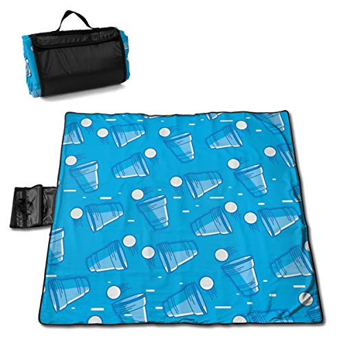 Kjaoi Picnic Mat Blanket with Strap - Beer Pong Pattern Beach Mat Sandproof and Waterproof for Picnic, Beaches, RVing and Outings ()