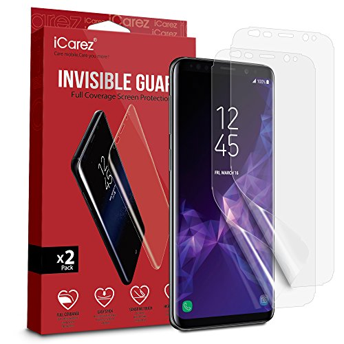 iCarez [Full Screen Coverage TPU] [Not Glass] Screen Protector for Samsung Galaxy S9 [2 Pack] Easy Install with Lifetime Replacement Warranty - Retail Packaging