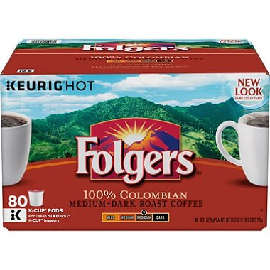 Gourmet Selections Coffee, Lively Colombian (80 K-Cups) (pack of 2) by Folgers