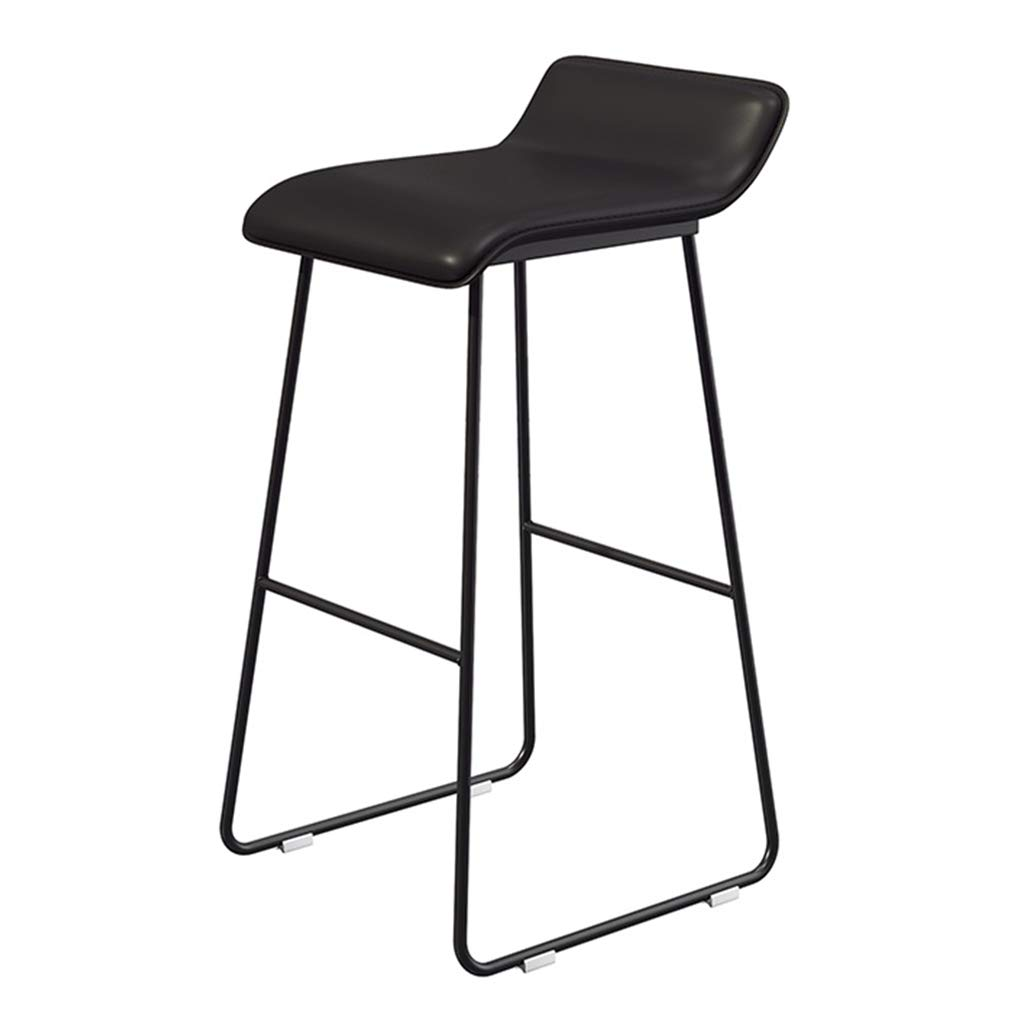Seat height 70cm Iron Art Barstools Bar Stool High Chair with Backrest and Black Bracket Legs for Cafe Bedroom Living Room Balcony (Sitting Height  65 70 75cm)
