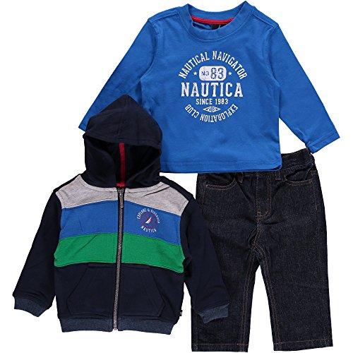 - Nautica Baby Boys' 3 Piece Set Fleece L Nautica Tee Pant, Sport Navy, 12 Months